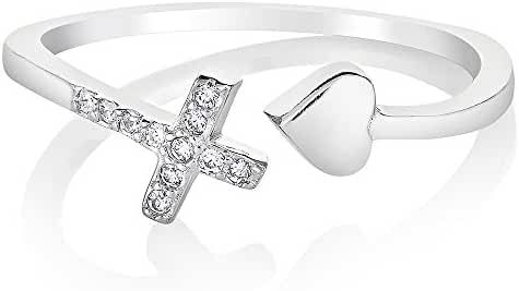 925 Sterling Silver Cubic Zirconia CZ Love of Jesus Cross Heart Band Ring Jewelry Size 6, 7, 8